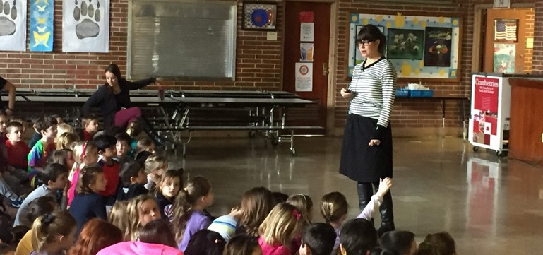 Emily Jenkins, author, visits kindergarten, 1st and 2nd graders.