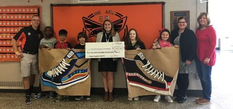 Roosevelt students presented a donation to the Children's Hospital of Philadelphia