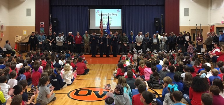 Oxford Valley Elementary students honored local veterans, including many of their own family members, with a special breakfast and assembly. Cadets from the PHS Air Force JROTC unit presented the colors.