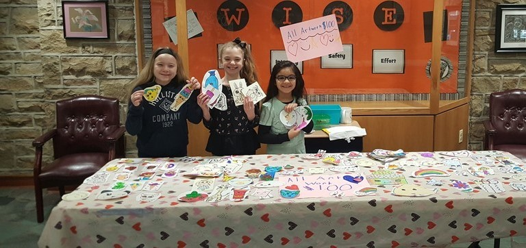 These students at Oxford Valley Elementary raised $101 for the Trenton Area Soup Kitchen by selling their artwork!