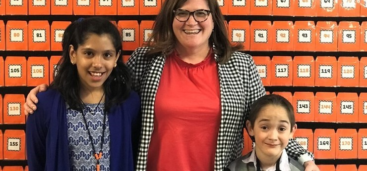 Harshita Badkul and Timothy Kehrberger, winners from their reading month calendars,  joined Mrs. Follman as principal's of the day.
