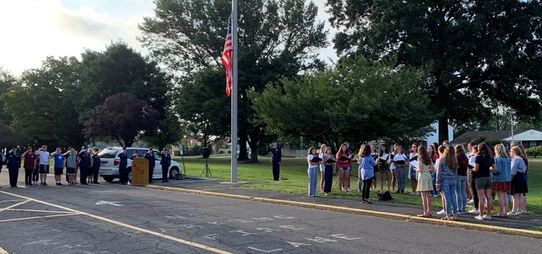 Air Force JROTC cadets and The Falconairs singing group combined efforts to present a special commemorative ceremony on the front lawn of Pennsbury HS to pay tribute to the thousands who died on September 11, 2001.