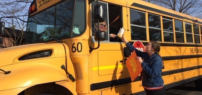 The Edgewood Elementary PTO shared surprise gifts, cards, and breakfast treats with their Pennsbury bus drivers to show gratitude for all they do all year long..