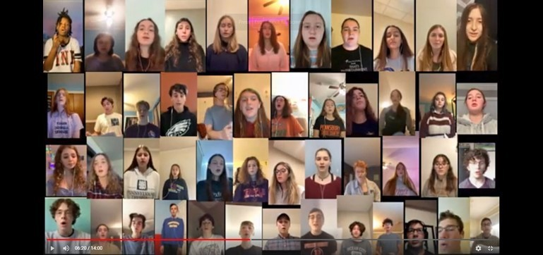 Choral students provided virtual clips of vocal performances for an online concert.