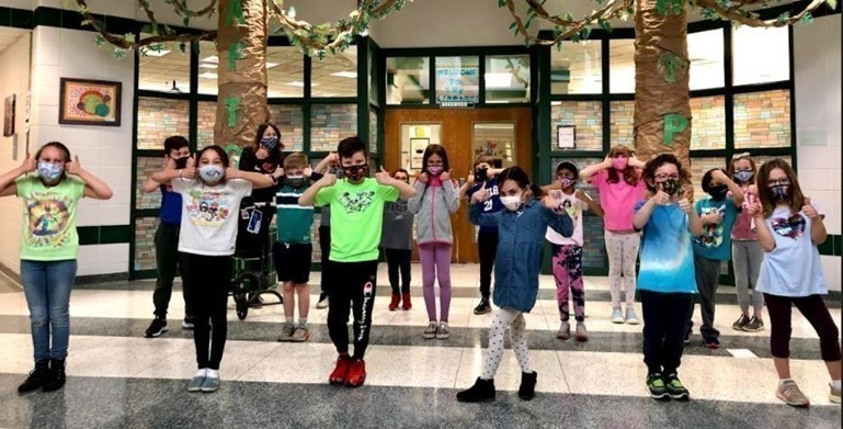 "Afton Elementary students are ""thumbs up"" about HOPE - Helping Others Protect the Earth!"